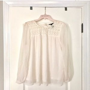 Ivory lace embroidered long sleeve top